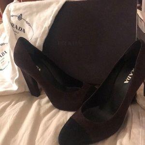 Prada burgundy and black suede high heels